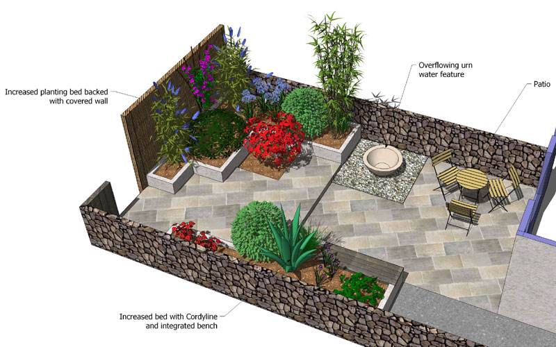 Angular evenings garden design small back garden design for Very small garden designs