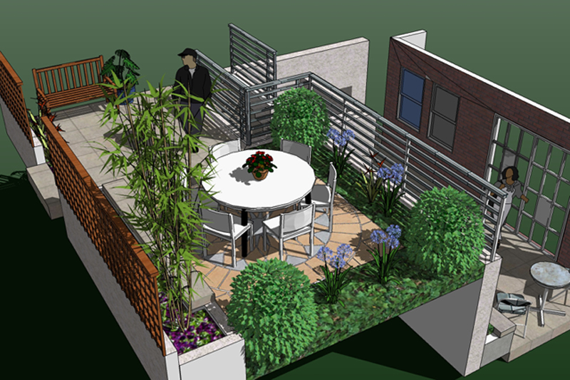 Terrace dining small garden design rogerstone gardens for Terrace garden designs