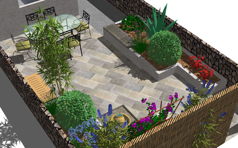 Angular evenings garden design small back garden design for Small back garden ideas