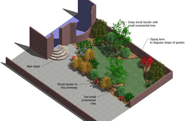 garden design with zigzag front rogerstone garden designwales with outdoor gardens from - Home And Garden Channel